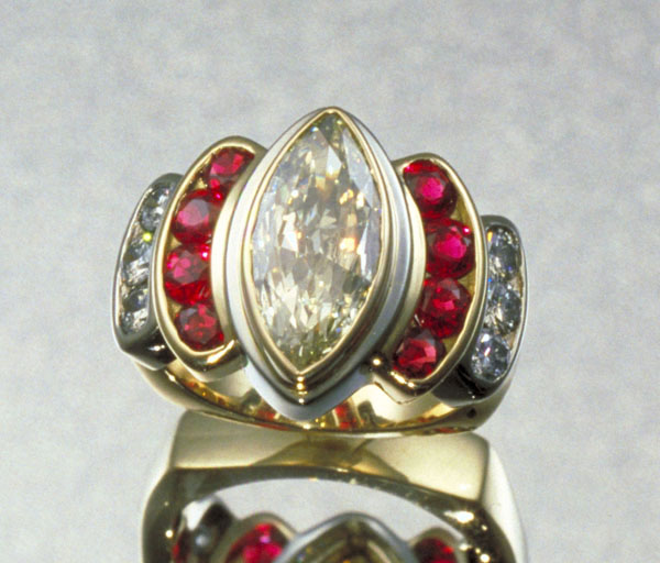Diamond Marquis and Ruby Ring